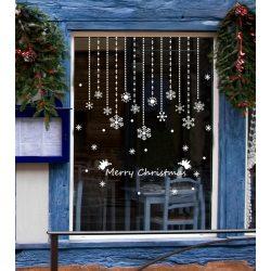 Függő hópelyhek, karácsonyi dekorációs matrica ablakra - Dekormatricák Webáruház