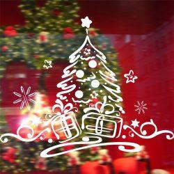 Karácsonyfa ajándékokkal, dekorációs matrica ablakra vagy kirakatra - Dekormatricák Webáruház