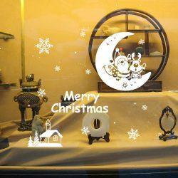 Hold Mikulással, karácsonyi dekorációs matrica ablakra vagy kirakatra - Dekormatricák Webáruház