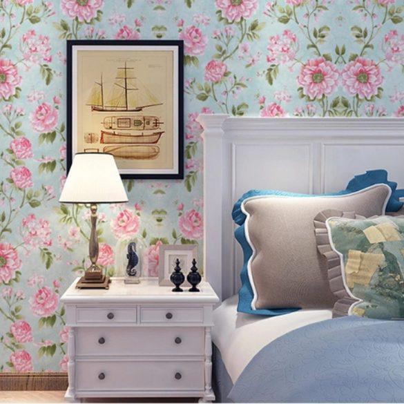 Rózsaszín virágmintás öntapadós tapéta