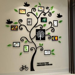 3D akril fekete családfa zöld levelekkel