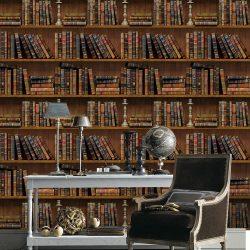 Antik könyvespolc, 3D öntapadós tapéta a Dekormatricák Matrica Webáruházban