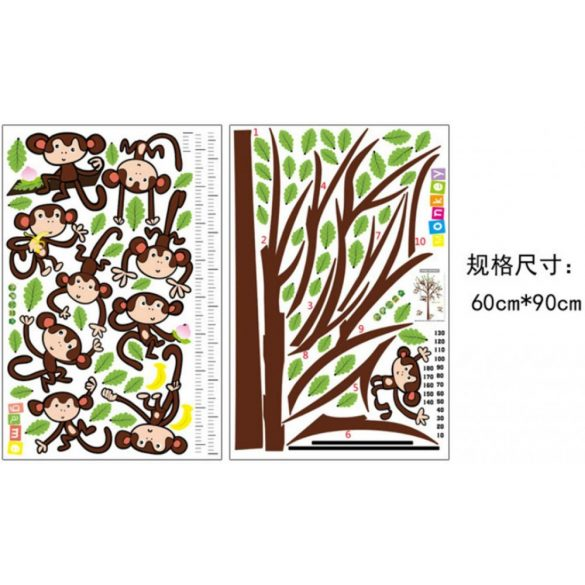 Fán játszó majmok, magasságmérő falmatrica gyerekeknek a Dekormatricák webáruházban