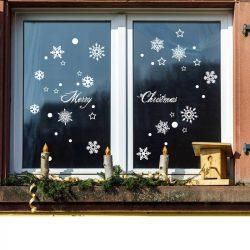 Hóesés, karácsonyi matrica ablakra, kirakatra a Dekormatricák webáruháztól