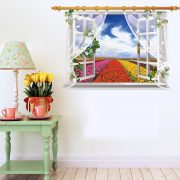 virágültetvény, ablakos falmatrica