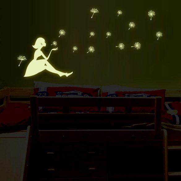 Pitypangos lány, éjjel világító falmatrica a Dekormatricák Webáruházban