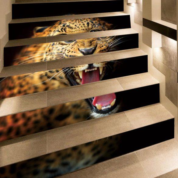 Leopárd, 3D lépcsőmatrica a Dekormatricák Webáruházban