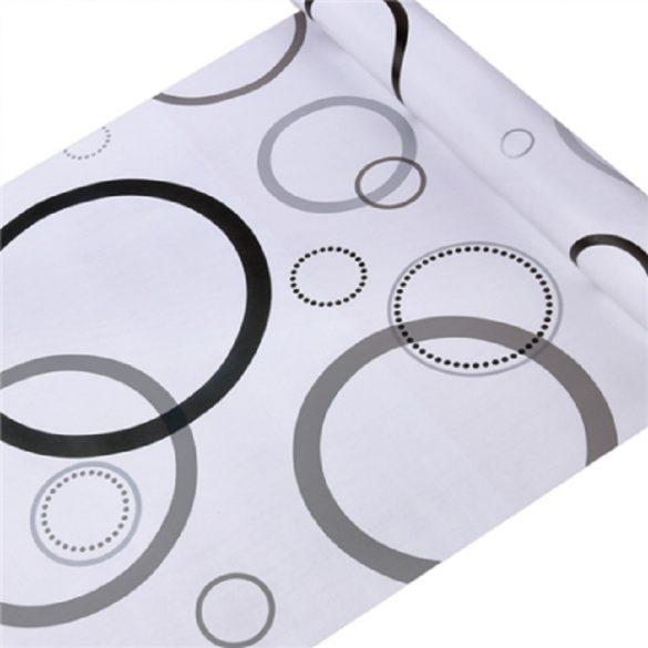 Szürke-fekete kör mintás öntapadós tapéta